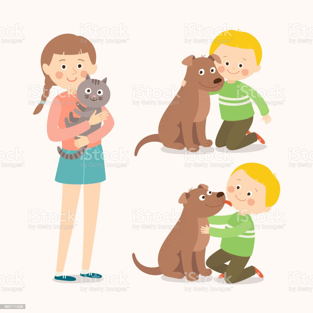 Children And Pets Child Lovingly Emces His Pet Dog Little Dog ...