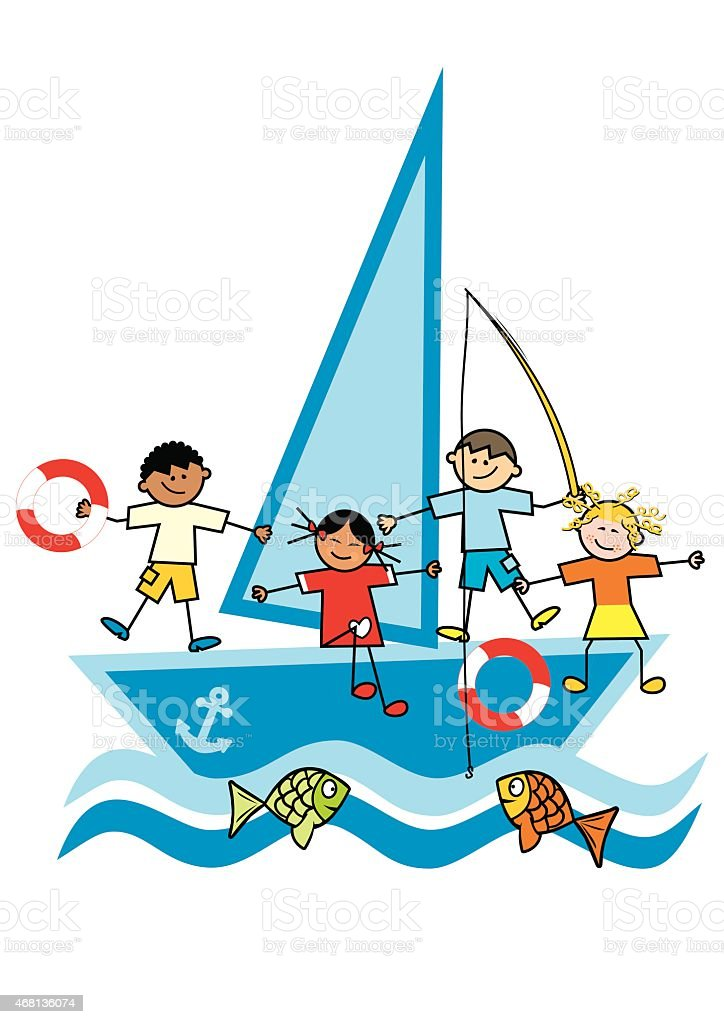children and sailboat vector art illustration