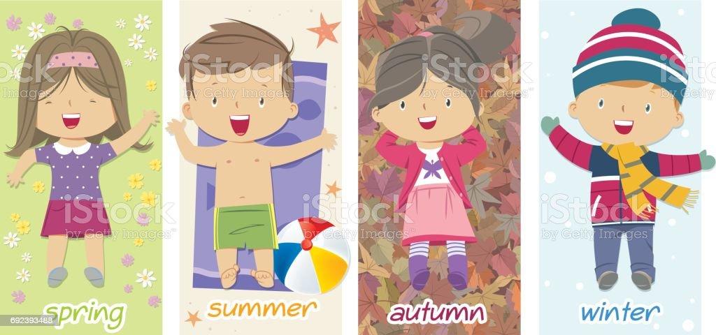 children and seasons vector art illustration