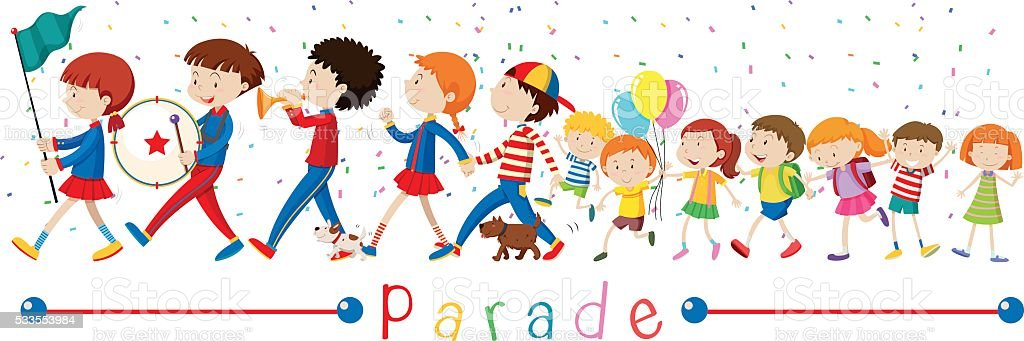 Children and the band in the parade vector art illustration