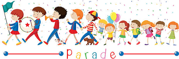 children and the band in the parade - geçit töreni stock illustrations