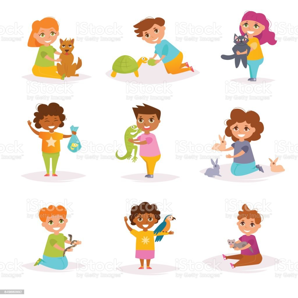 children and their pets vector cartoon royalty free stock vector art