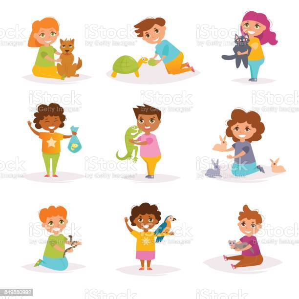 Children and their pets vector cartoon vector id849880992?b=1&k=6&m=849880992&s=612x612&h=ivw0ueffvd520pqo6ps7sjxutkhdv0088sfoz71wqmm=
