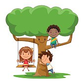 Children and tree, play, hug, caring nature, group of kids, cute cartoon characters, vector illustration, isolated, white background