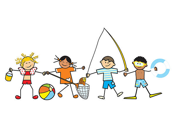 children and water fun vector art illustration