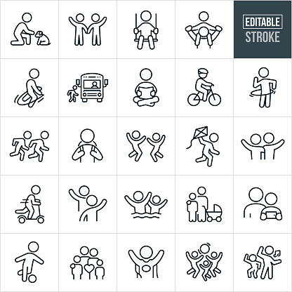 Children and Youth Thin Line Icons - Editable Stroke