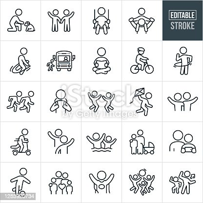 A set of children and youth icons that include editable strokes or outlines using the EPS vector file. The icons include children, youth, children playing, boys, girls, families, sons, daughters, boy and a dog, children waving, child swinging, child getting a piggy back ride, children swimming, child jumping rope, child getting on a school bus, child reading, child riding a bike, children running, children jumping, youth waving, youth reading a book,  child flying a kite, child riding a push scooter, childhood friends, mother and child, child playing soccer, child dressed up as a superhero, children playing with ball and children dancing to name just a few.