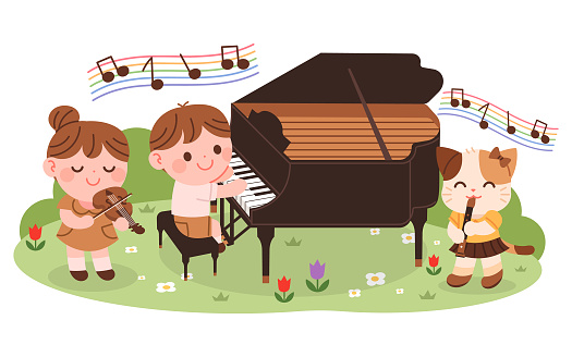 Children are having a music concert in the forest.