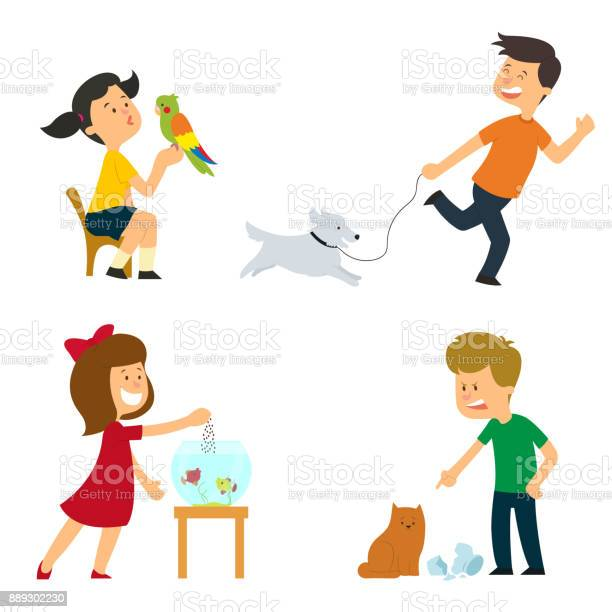 Children are looked after are trained and play with their pets vector id889302230?b=1&k=6&m=889302230&s=612x612&h=cf4qamny0fv 0ozvdzxlf2yjea tp03jodqgokmw ge=