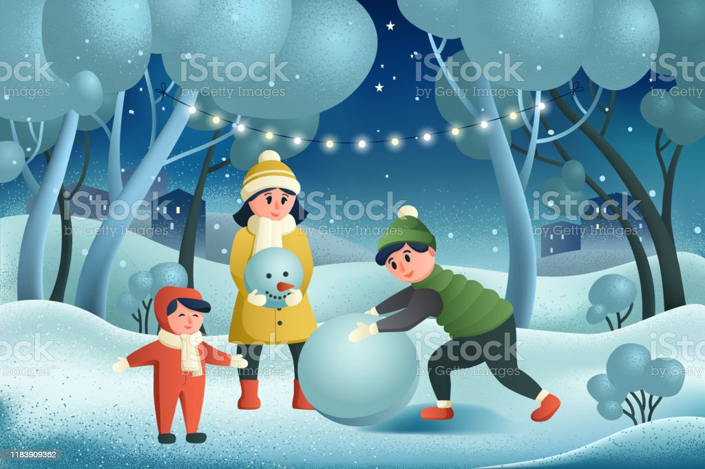 Children Are Making A Snowman Winter Fun Holiday Card Merry Christmas And Happy New Year Three Children Are Playing Outside Its Snowing Winter Background Winter Vacation Greeting Card Stock Illustration Download