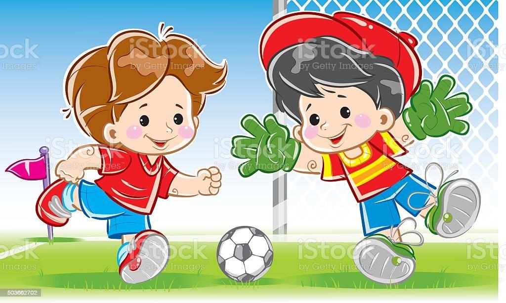 Kinder Spielen Fussball Fussball Stock Vektor Art Und Mehr