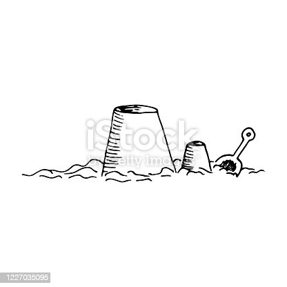 istock Children are playing on whe beach with sand, building castles, figures. Spade and plastic backet. Vector hand drawn illustration in sketch doodle style. Concept of summer vacation, toy, equipment 1227035095