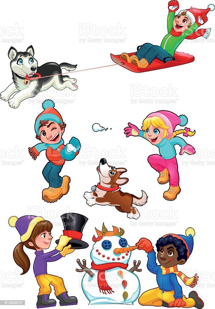 As crianças estão jogando com neve - ilustração de arte em vetor