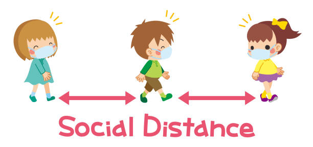 Children are walking with friends Illustration of children are play take the distance with friends. children only stock illustrations