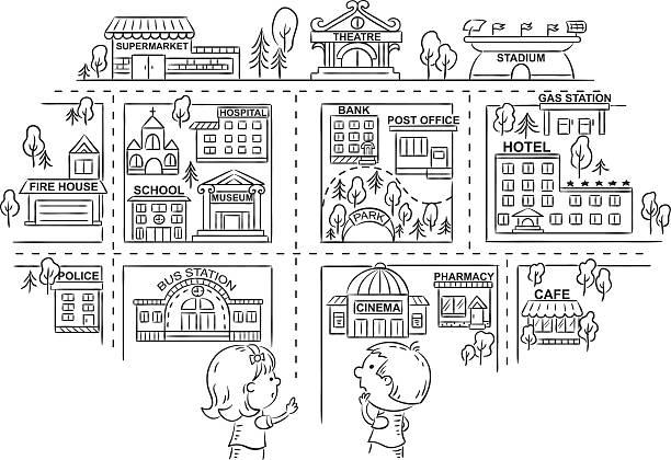 質問とお子様にご紹介し、ブラックとホワイトのアウトライン - 都市 モノクロ点のイラスト素材/クリップアート素材/マンガ素材/アイコン素材