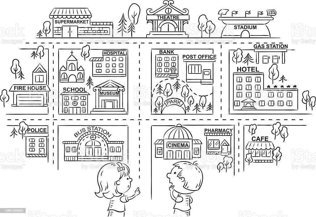 Perfect Children Asking And Telling The Way, Black And White Outline Vector Art  Illustration