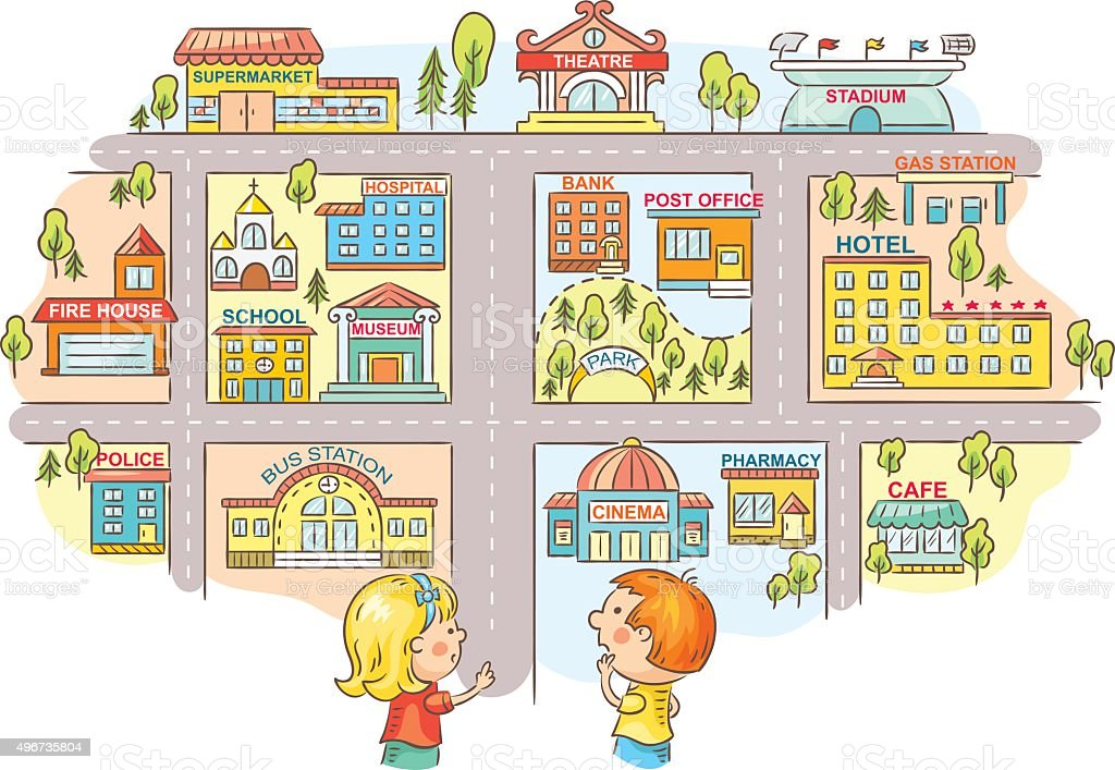 Children Asking And Telling The Way To City Buildings