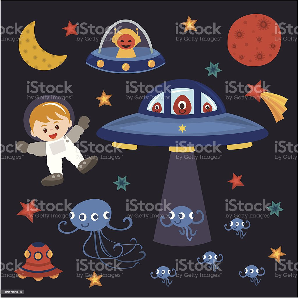children astronaut with space monster a kid goes to space have fun with space monster. Adolescence stock vector