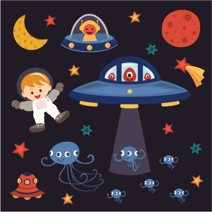 Children Astronaut With Space Monster Stock Illustration - Download Image Now
