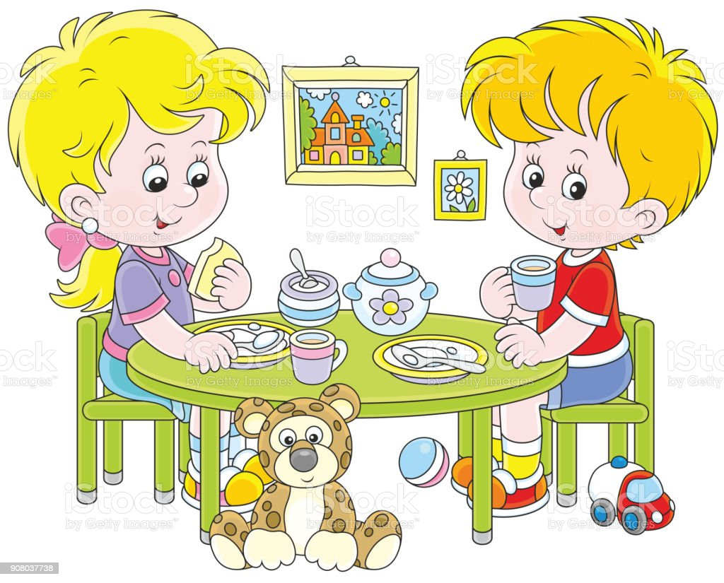 Children at breakfast vector art illustration