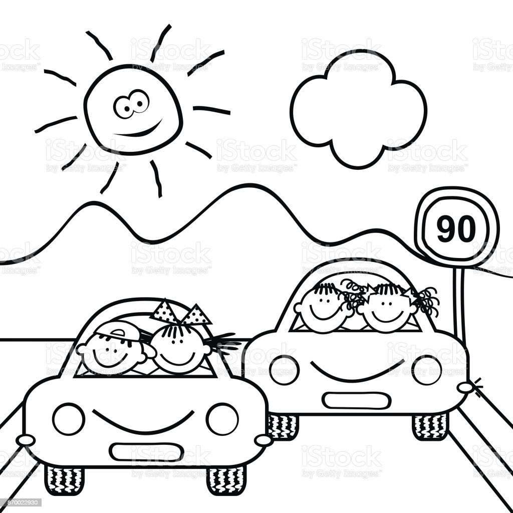 Children At Cars Coloring Book Stock Illustration Download Image Now Istock