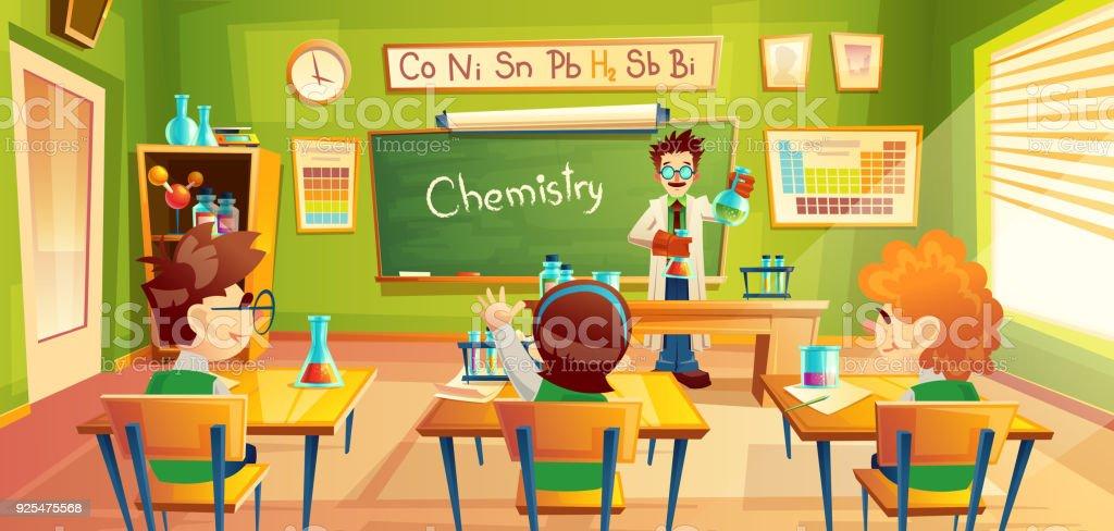 Ilustração do vetor de crianças na aula de química, - ilustração de arte em vetor
