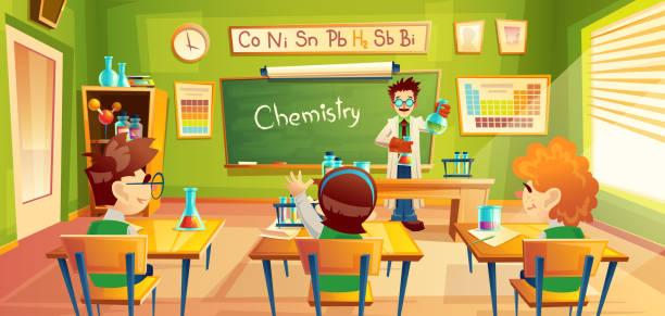 ilustrações, clipart, desenhos animados e ícones de ilustração do vetor de crianças na aula de química, - aula de ciências