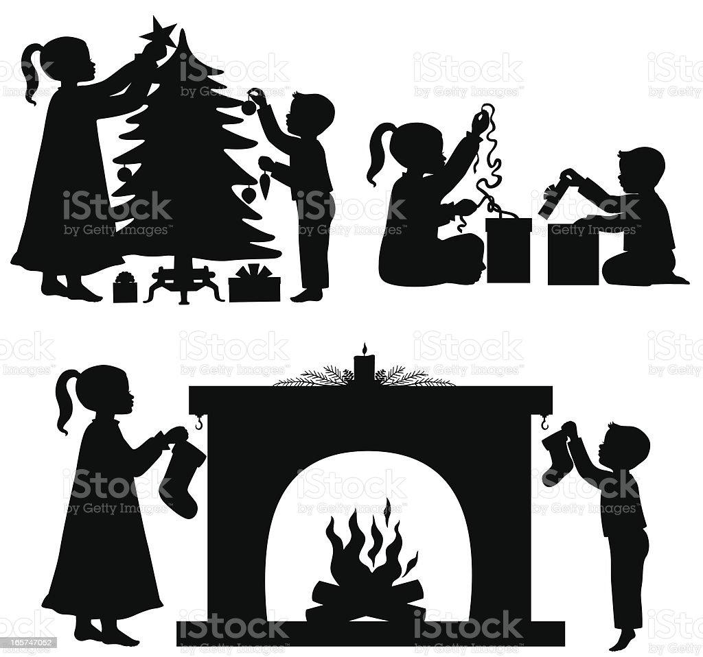 les enfants des silhouettes de no l cliparts vectoriels et plus d 39 images de arbre 165747052. Black Bedroom Furniture Sets. Home Design Ideas