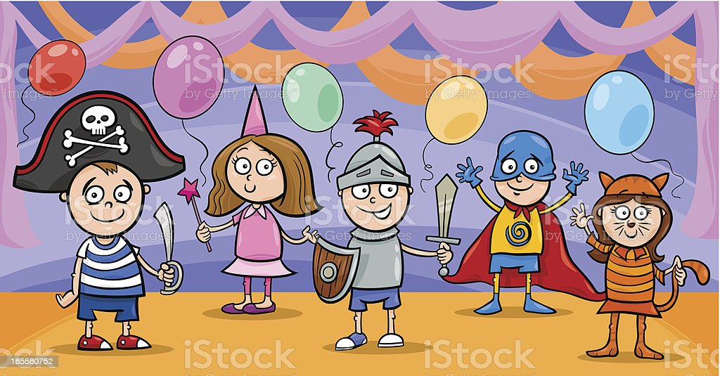 children at fancy ball cartoon royalty-free children at fancy ball cartoon stock vector art & more images of balloon