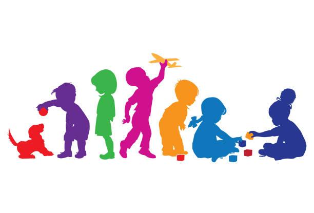 kinder im spiel - kind stock-grafiken, -clipart, -cartoons und -symbole