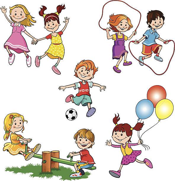 kinder at play - freilauf stock-grafiken, -clipart, -cartoons und -symbole