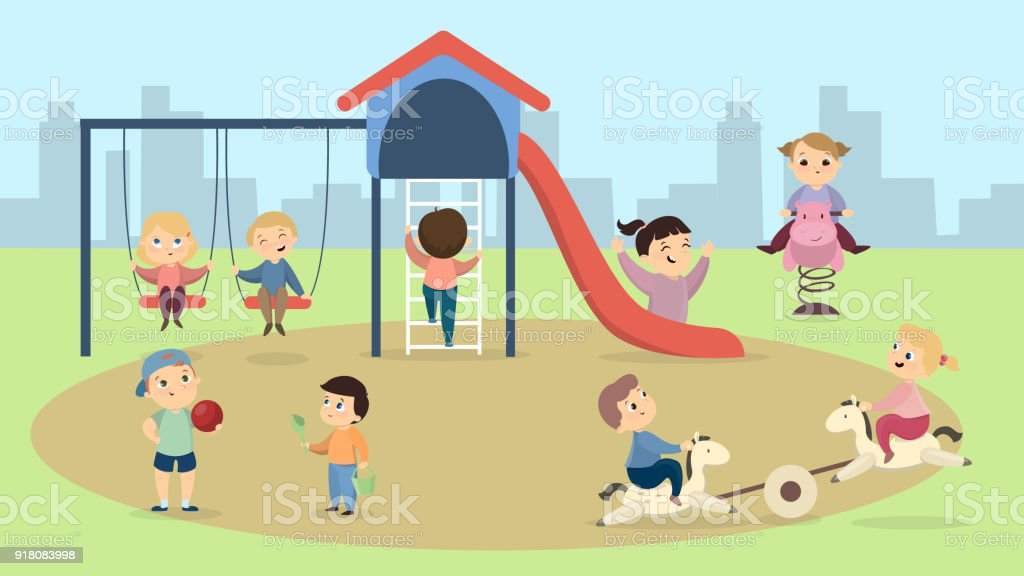 Children at playground. vector art illustration