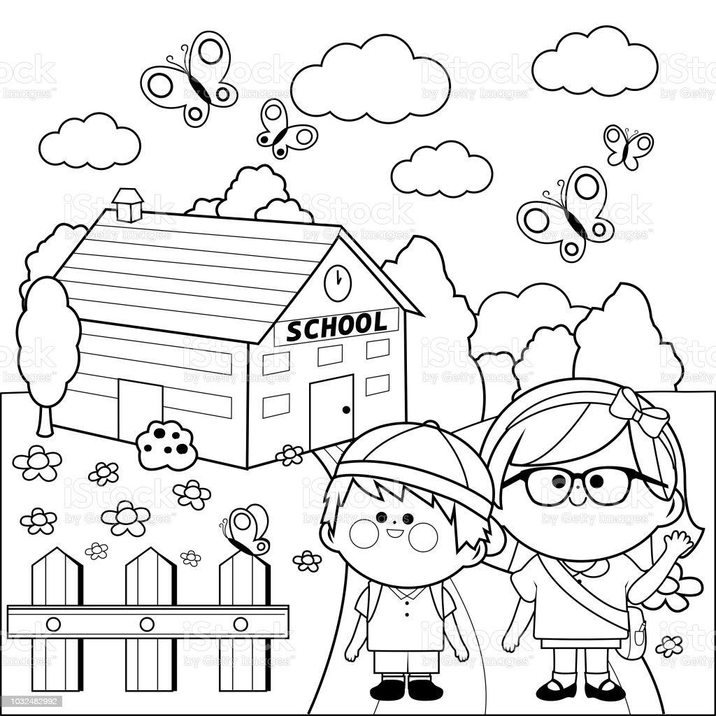 Ilustración De Niños En La Escuela Blanco Y Negro Para