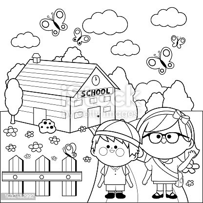 ᐈ Imagen De Niños En La Escuela Blanco Y Negro Para
