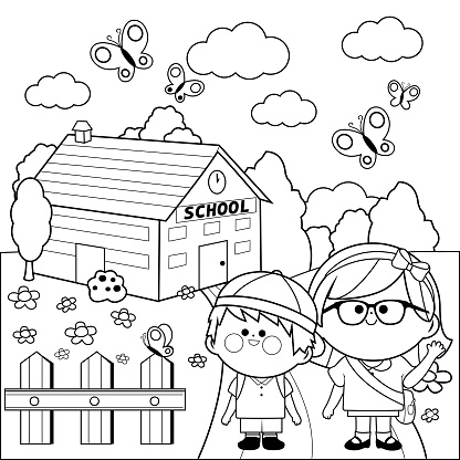 Children At School Black And White Coloring Book Page