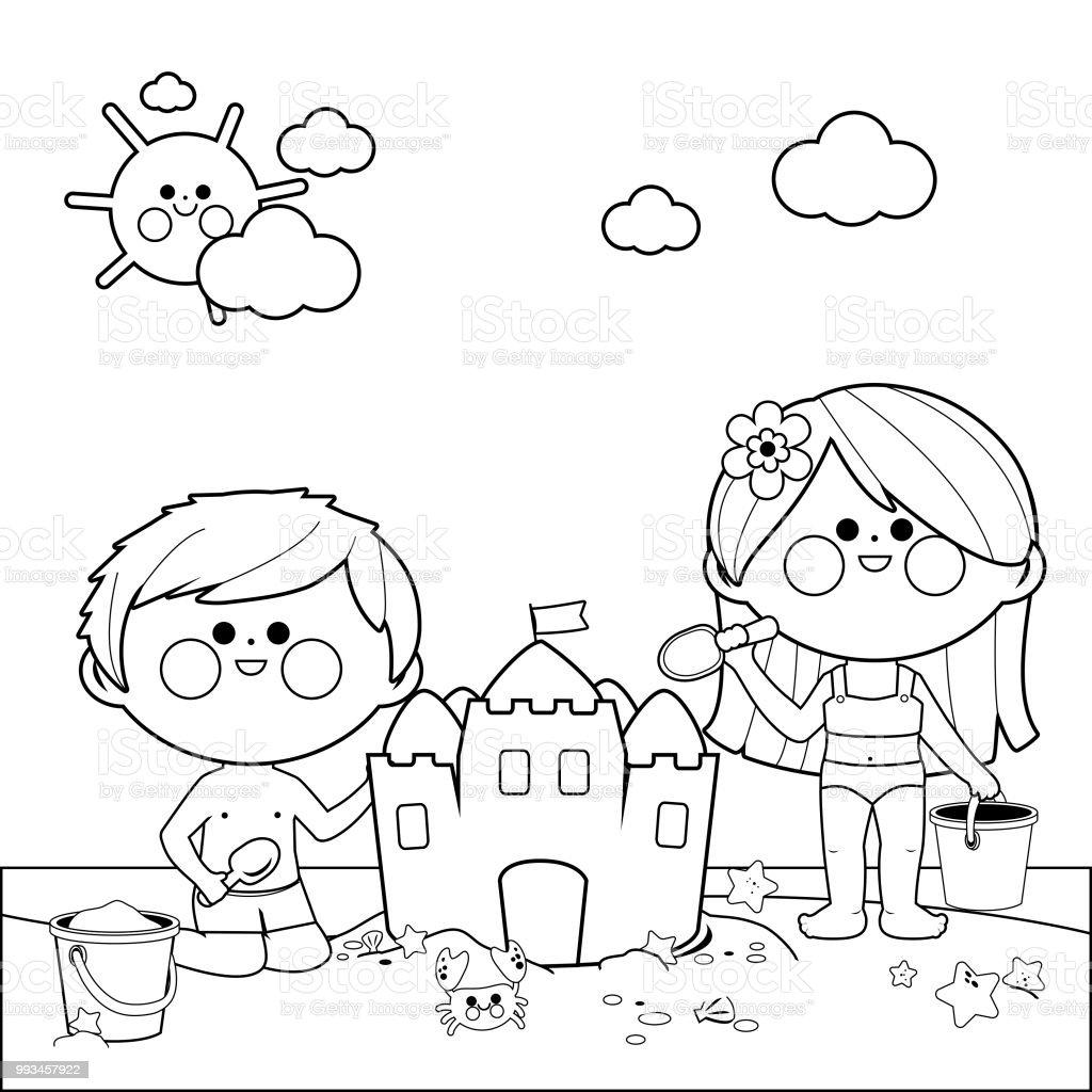 Ilustración De Niños En La Playa Construyendo Un Castillo De Arena