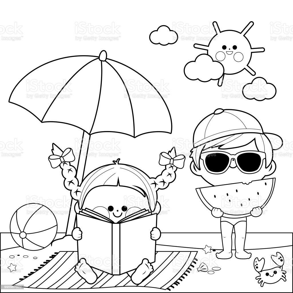 çocuk Sahilde Bir Kitap Okuma Ve Bir Dilim Karpuz Plaj şemsiyesi