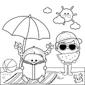 Children at the beach reading a book and eating a slice of watermelon under a beach umbrella. Black and white coloring book page