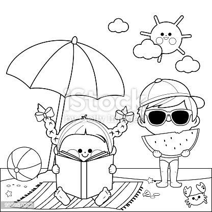 Ilustración de Niños En La Playa Leyendo Un Libro Y Comiendo Una ...