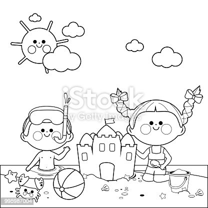 Coloring pages beach signs ~ Children At The Beach Swimming And Building A Sandcastle ...