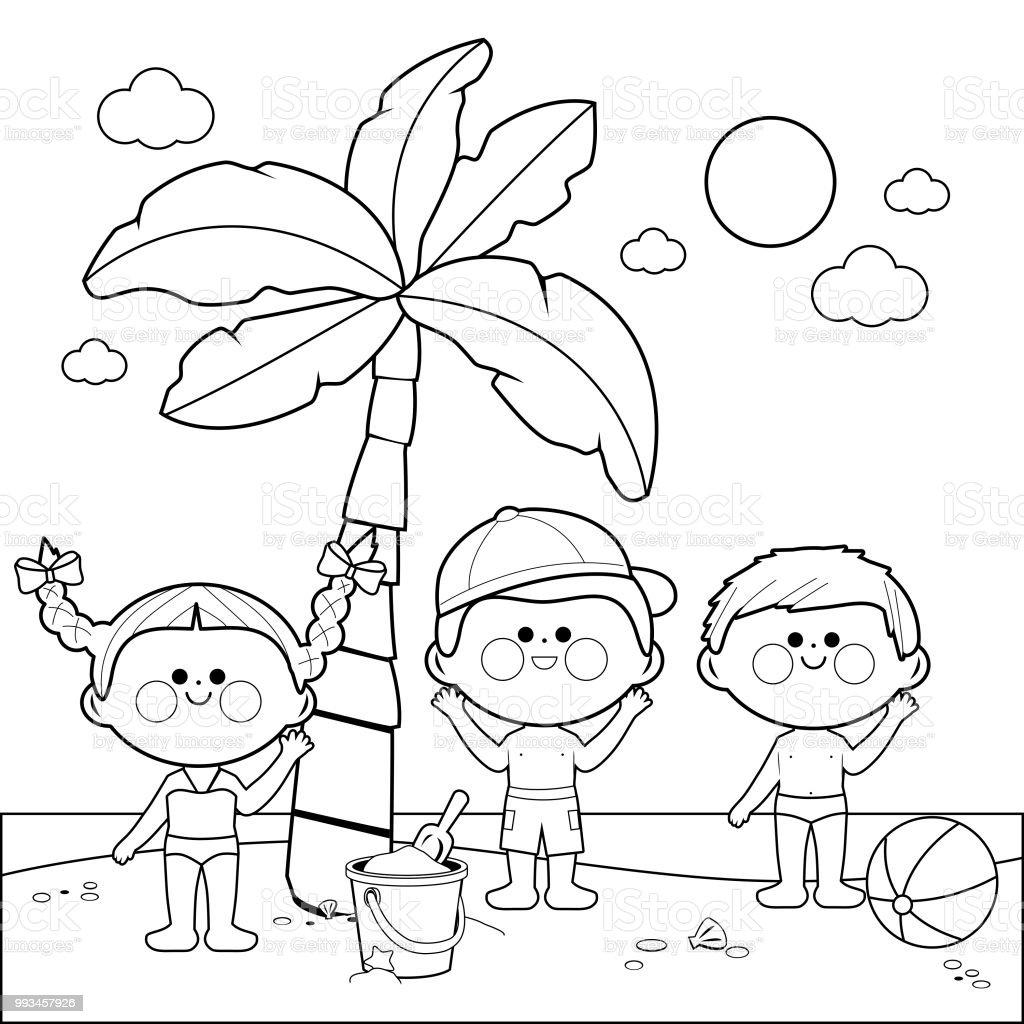 Ilustración De Niños En La Playa Bajo Una Palmera Blanco Y Negro
