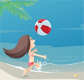 Children playing with beach ball. Vector