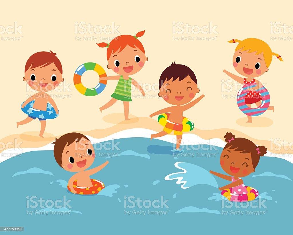 Kids Beach Clipart