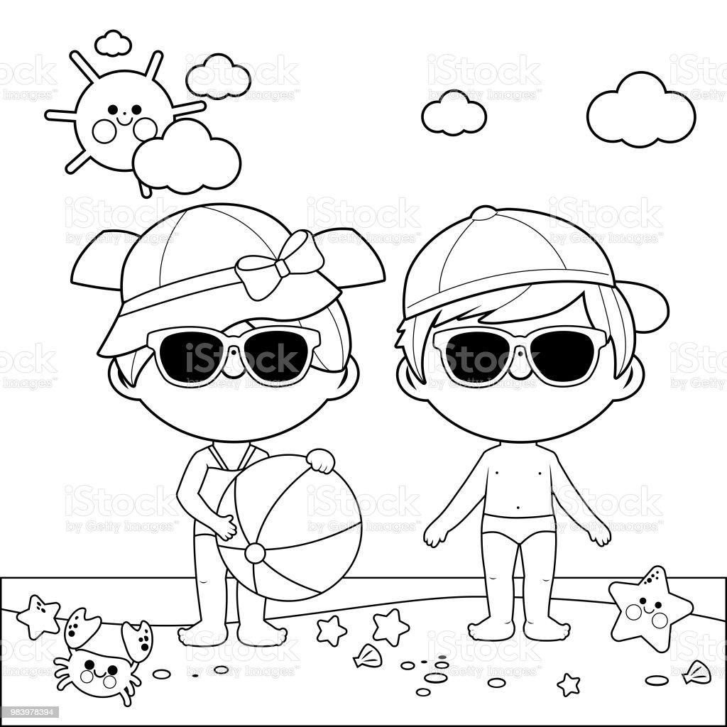 Ilustración de Niños En La Playa Con Sombreros Y Gafas De Sol Blanco ...