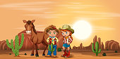 Children at the desert