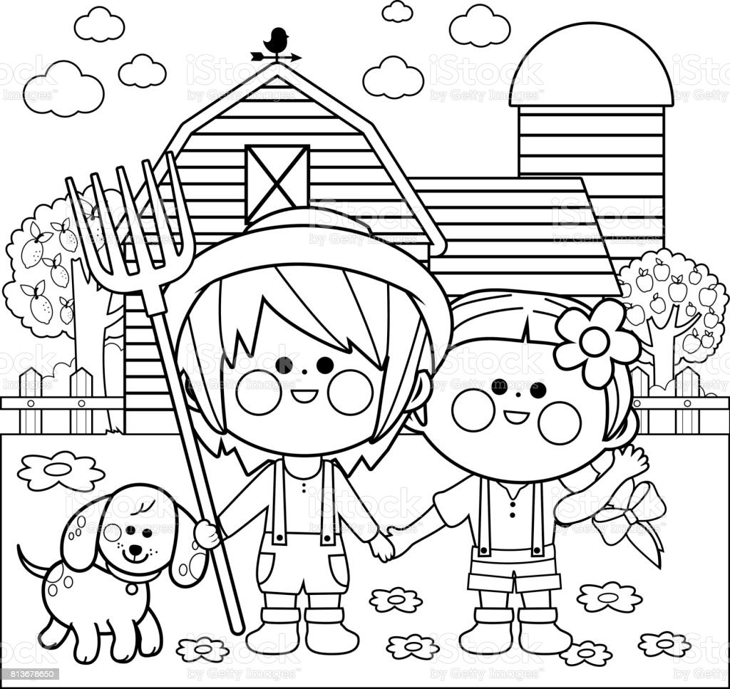 Children at the farm. Black and white coloring book page vector art illustration