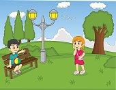 Children at the park cartoon