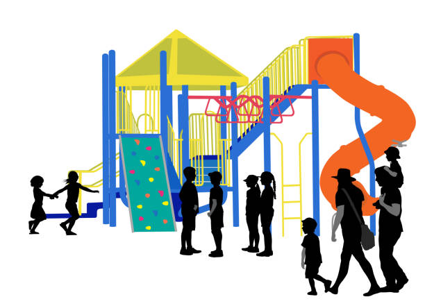 children at the park playground - monkey bars stock illustrations, clip art, cartoons, & icons