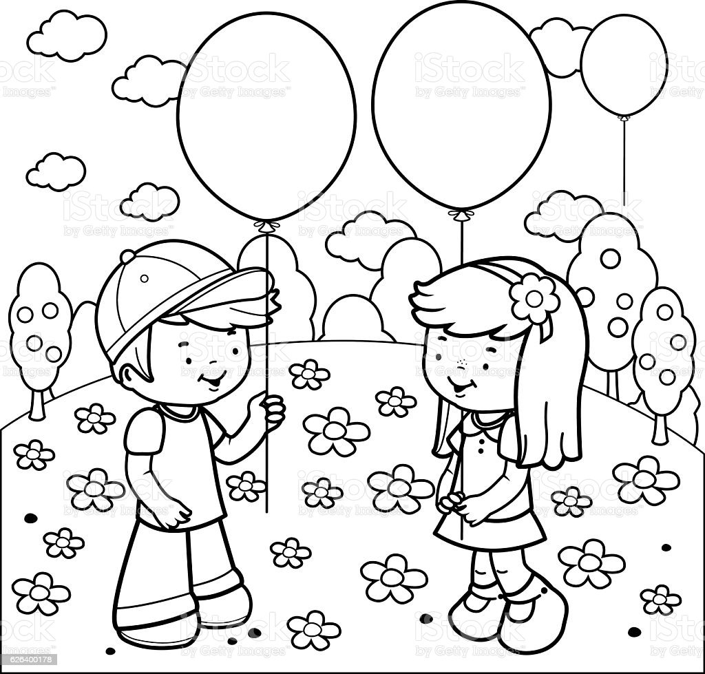 children at the park playing with balloons coloring book page royalty free stock vector art