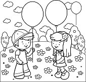 Children at the park playing with balloons coloring book page